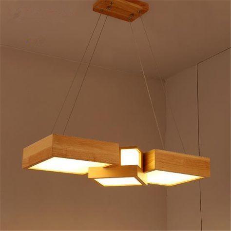 Pas cher Style japonais En Bois Massif Salle À Manger Lampes