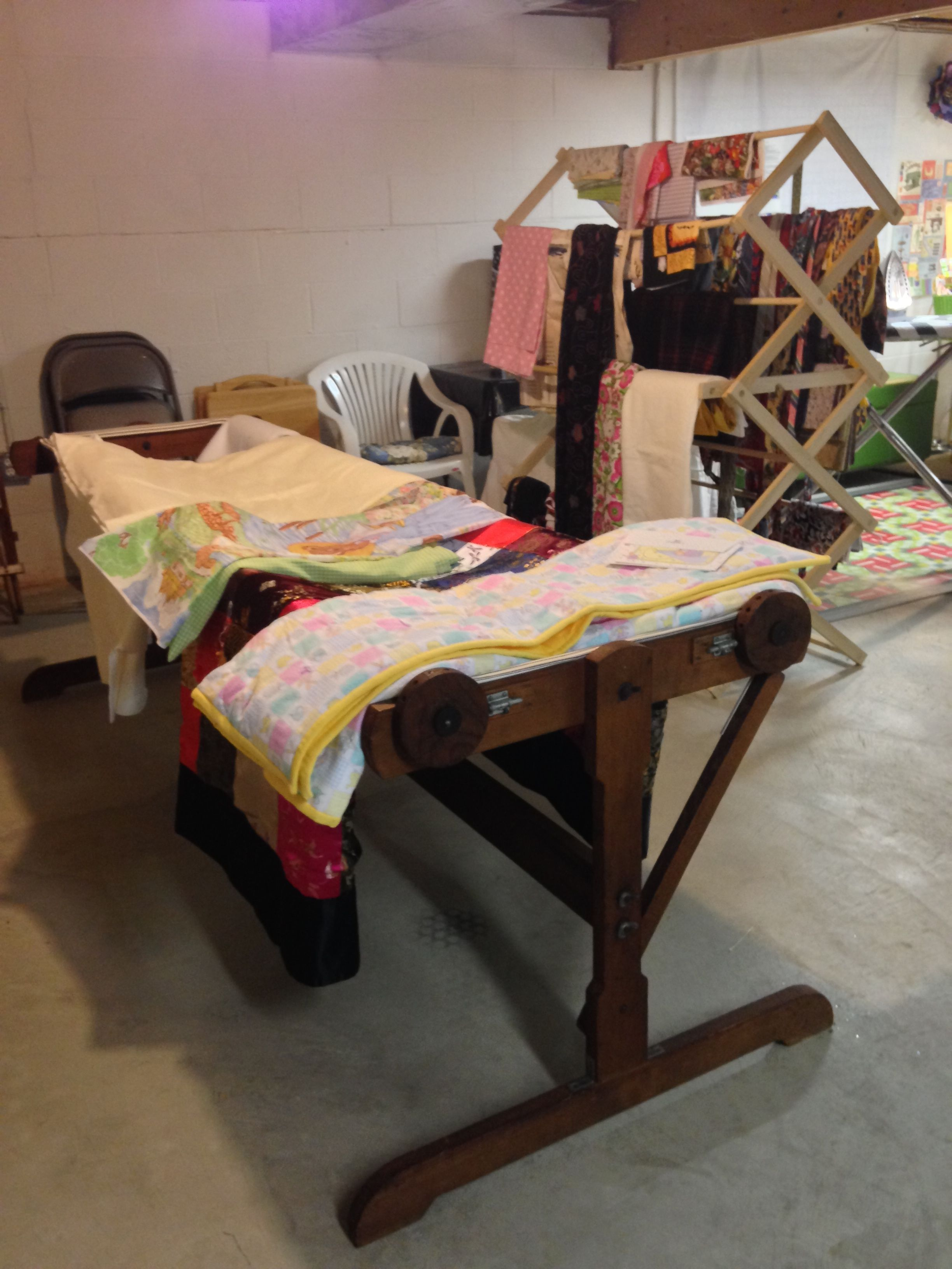 Quilt frame which was handmade by my husband\'s grandfather for his ...