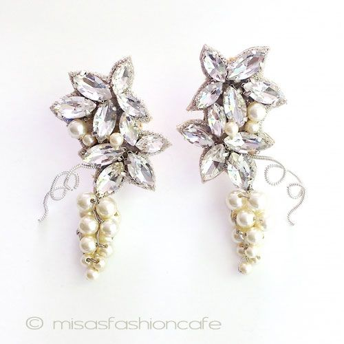 SPARKL sparkle earrings Pearl grape grape grape Pearl Crystal