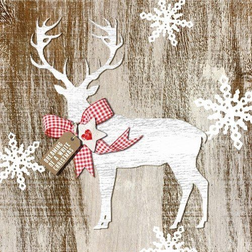 Country Christmas Deer On A Primitive Wood Background