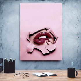 Home Decoration Nordic Style Canvas Lips Creative Painting Wall Art Prints Picture Modular Poster For Living Room Frame Artwork 12 Pieces Butterfly Flowers Hanging Room D...