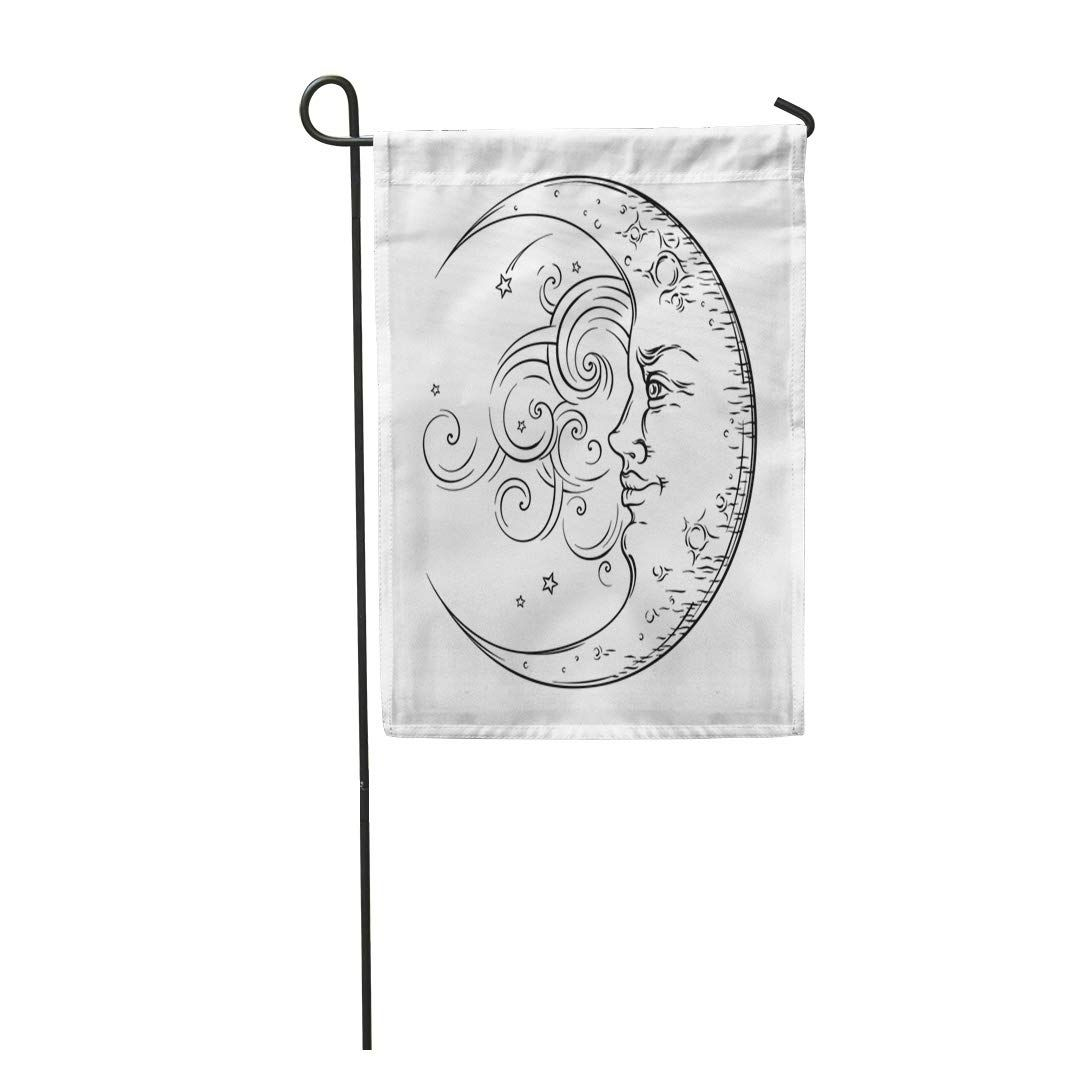 Photo of Drawn Antique Crescent Moon Boho Chic Tattoo Engraving Hand Garden Flag – Products