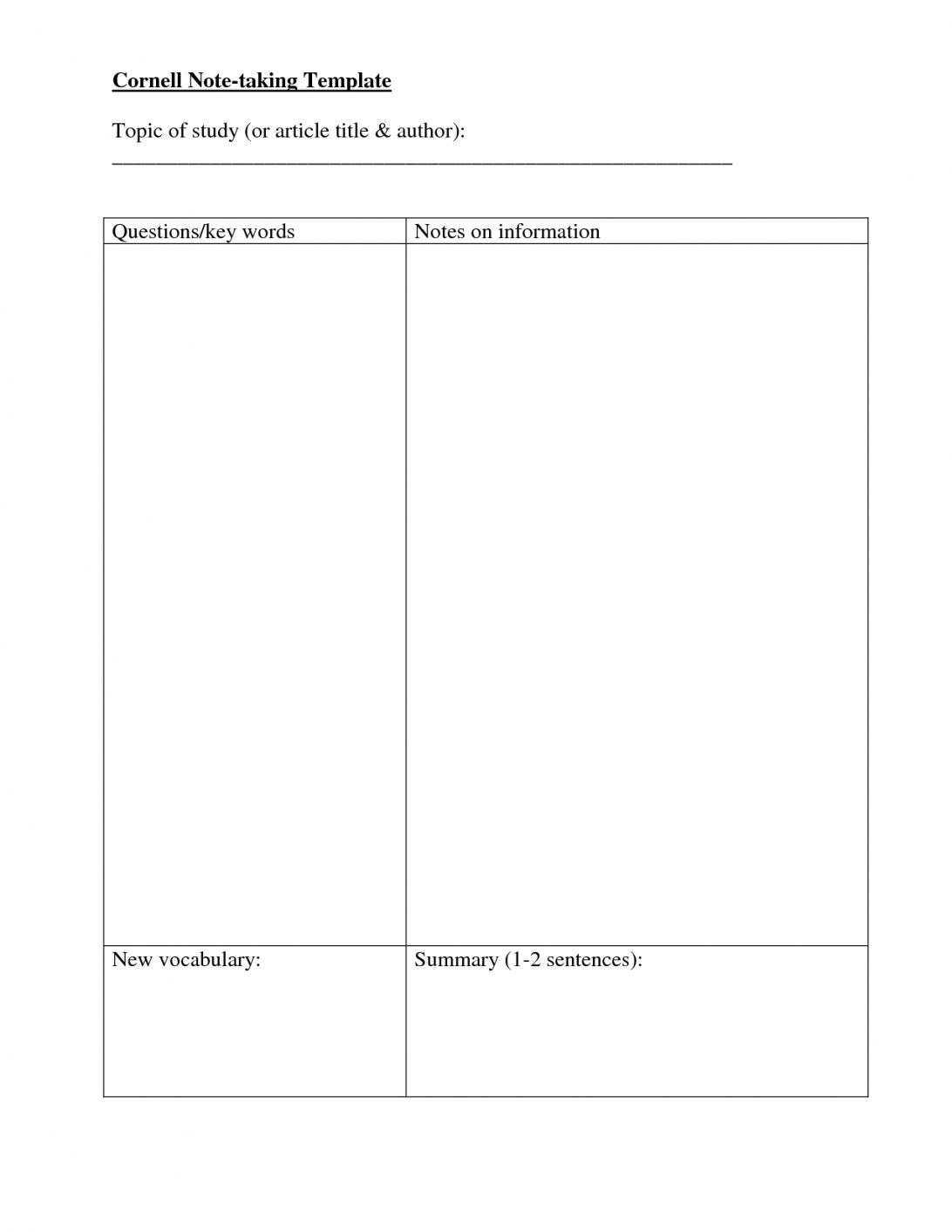 Note Taking Template Free Download Microsoft Word With