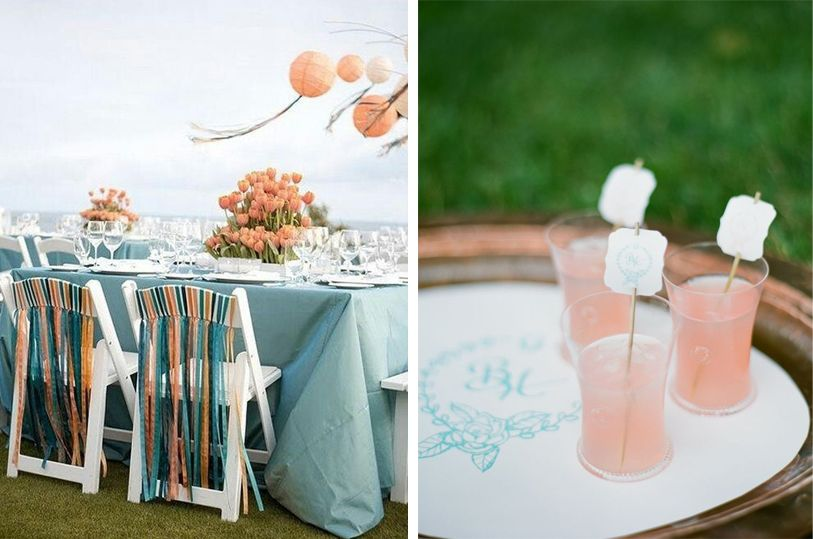 Peach And Sea Foam Wedding Colors