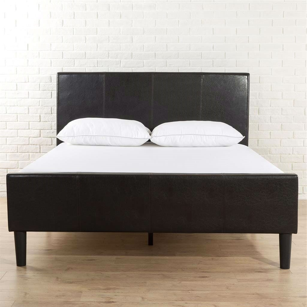 Queen Size Espresso Faux Leather Platform Bed With Upholstered Headboard Footboard