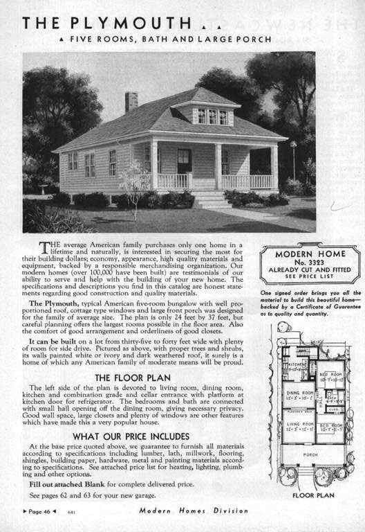 Sears Plymouth 1933 3323 1934 3323 1935 3323 1926 1937 3323 1938 Vintage House Plans Exterior House Colors Bungalow Floor Plans