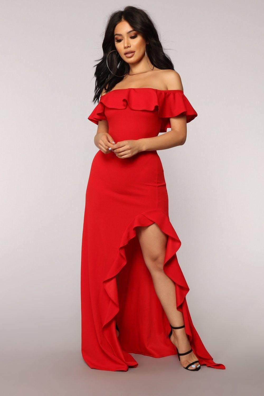 Chasin 'Love Ruffle Dress Vermelho Fashion Nova Dress