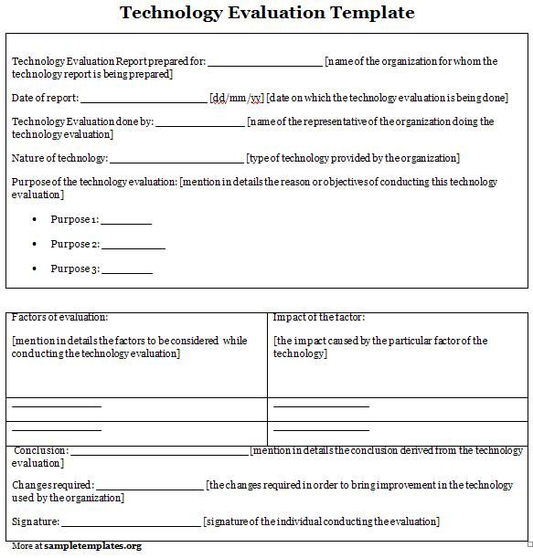 Technology Evaluation Form Technology Evaluation Form  Sample
