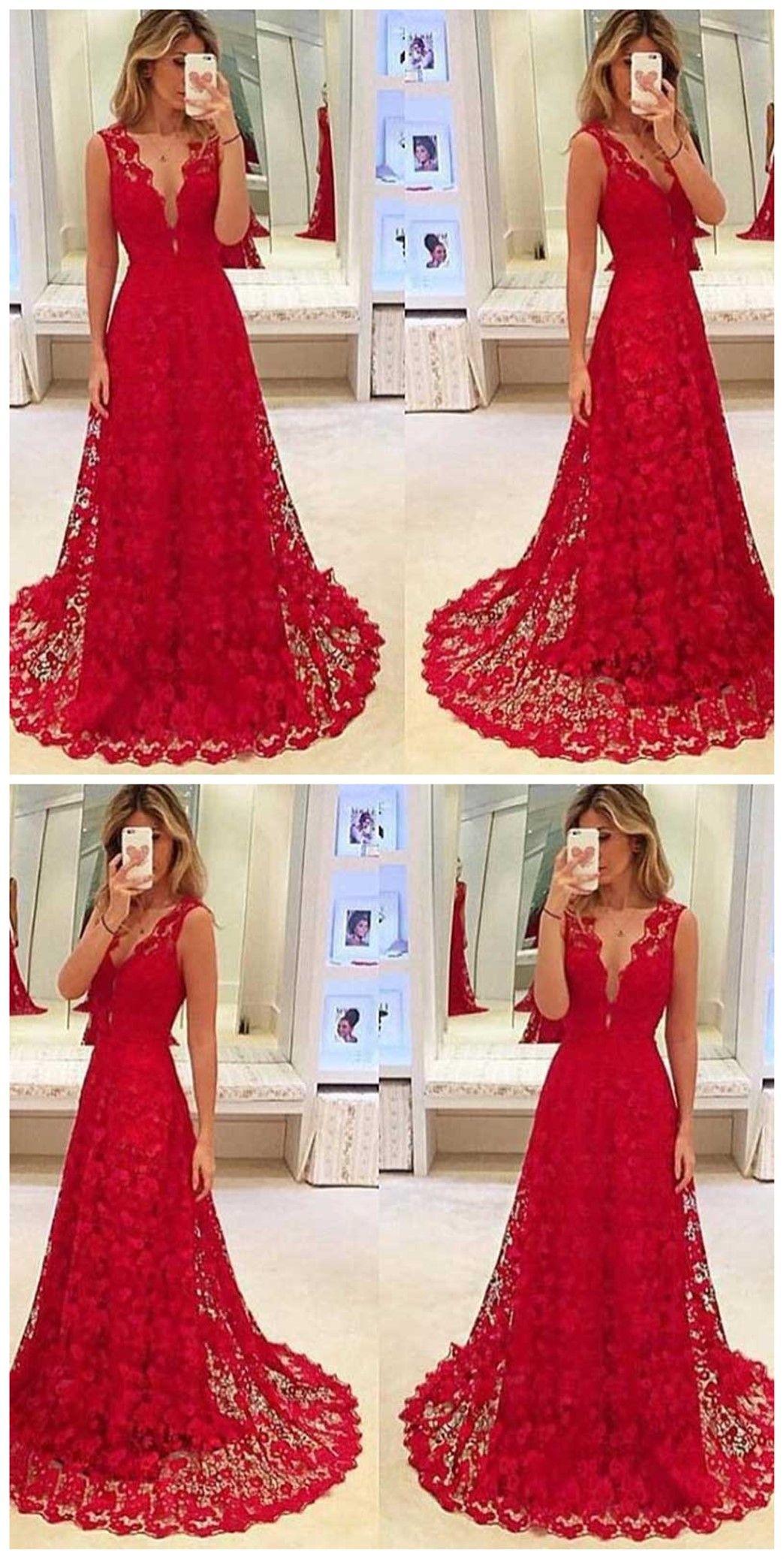 Red lace long prom dresses deep v neckline prom dresses custom