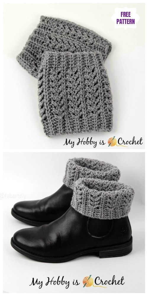 Crochet Textured Boot Cuffs Free Crochet Patterns #bootcuffs