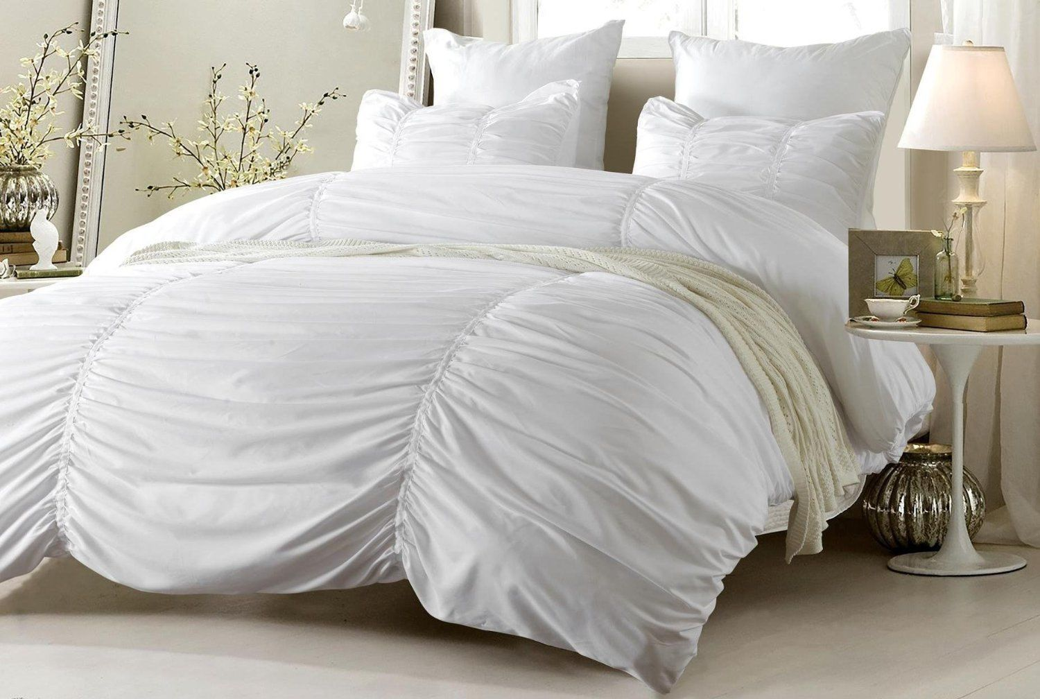 White Ruched Design Bedding Set Includes Comforter Set Or Duvet