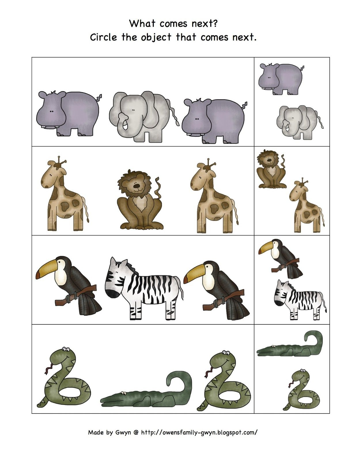 Preschool Printables Zoo