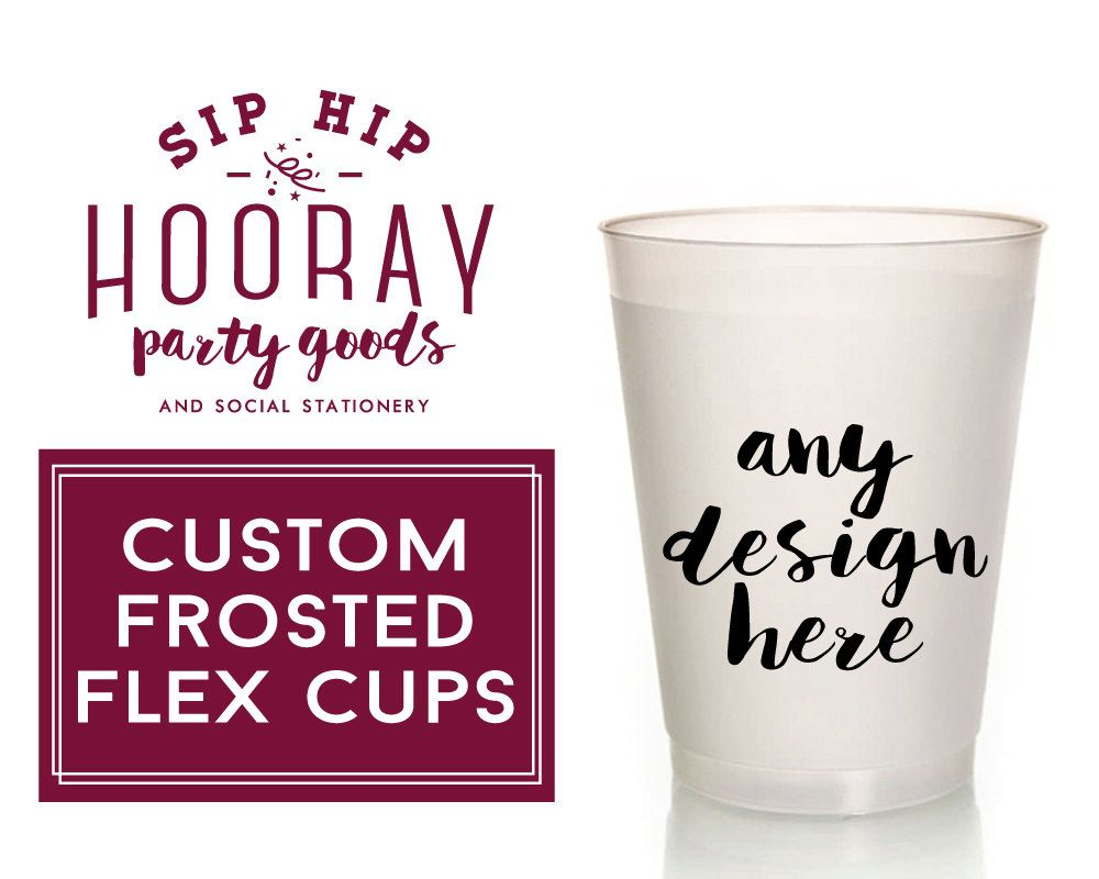 Personalized Frosted Cups, 16oz, Plastic Party Cups, Wedding Favors ...