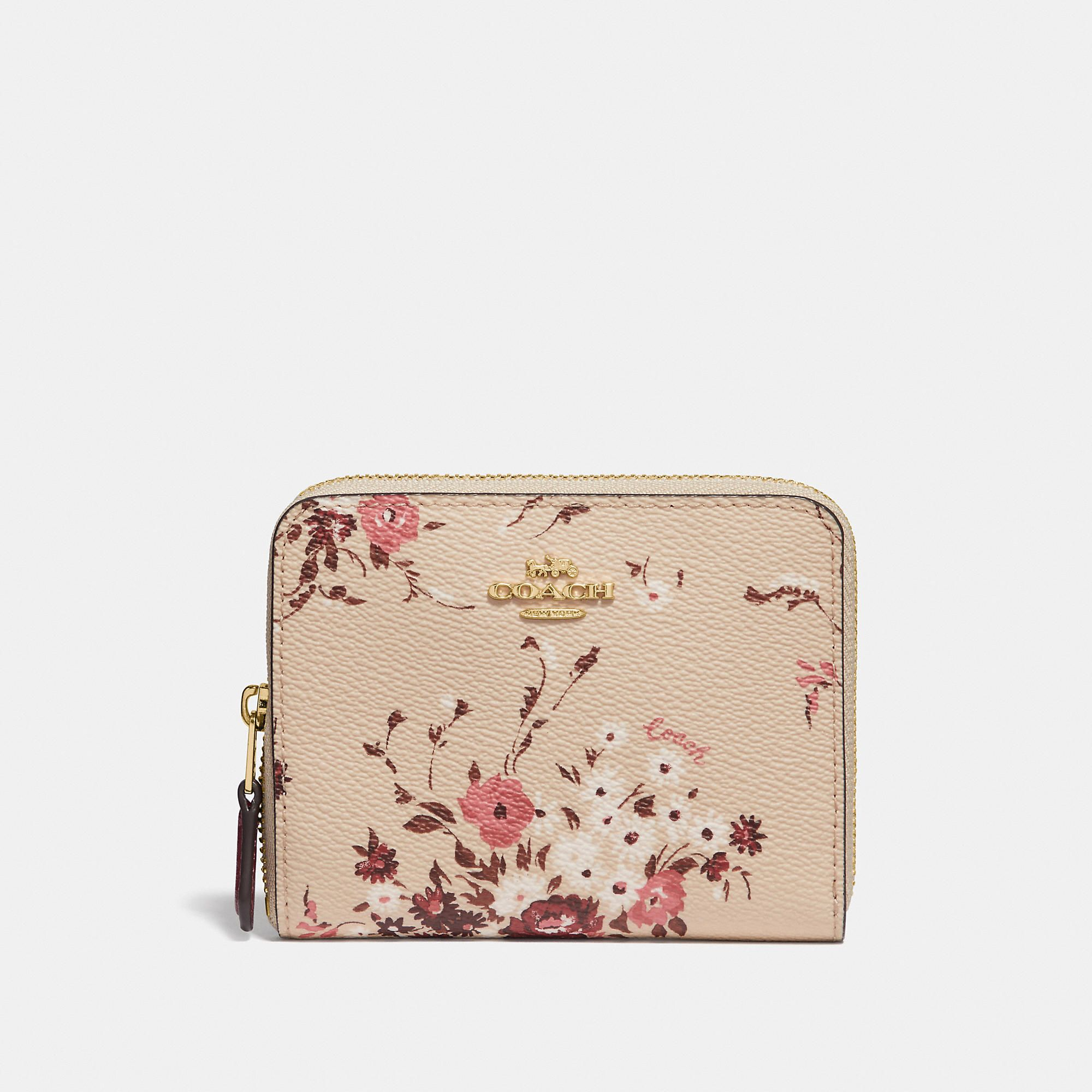 Coach Coach Small Zip Around Wallet With Floral Bundle Print