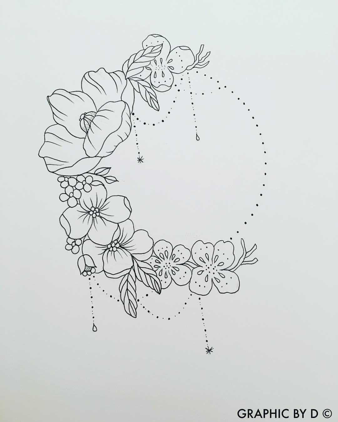 "Photo of Dorothee Thomson on Instagram: ""Half Crown Flowers 🌙 #graphicbyd #illustration #sket …"