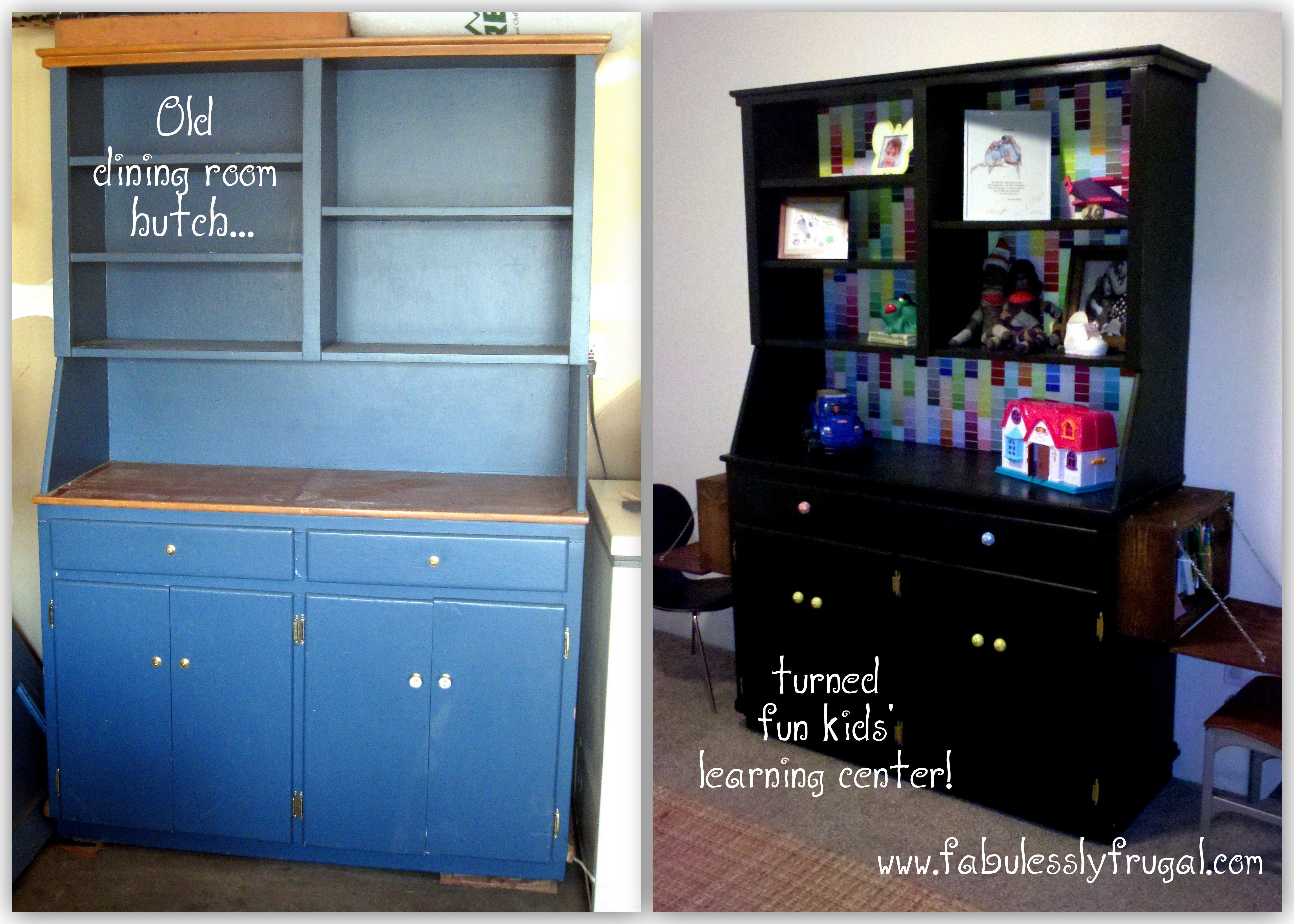 Repurpose Inspiration Turn An Old Dining Room Hutch Into A Fun Learning And Play Station