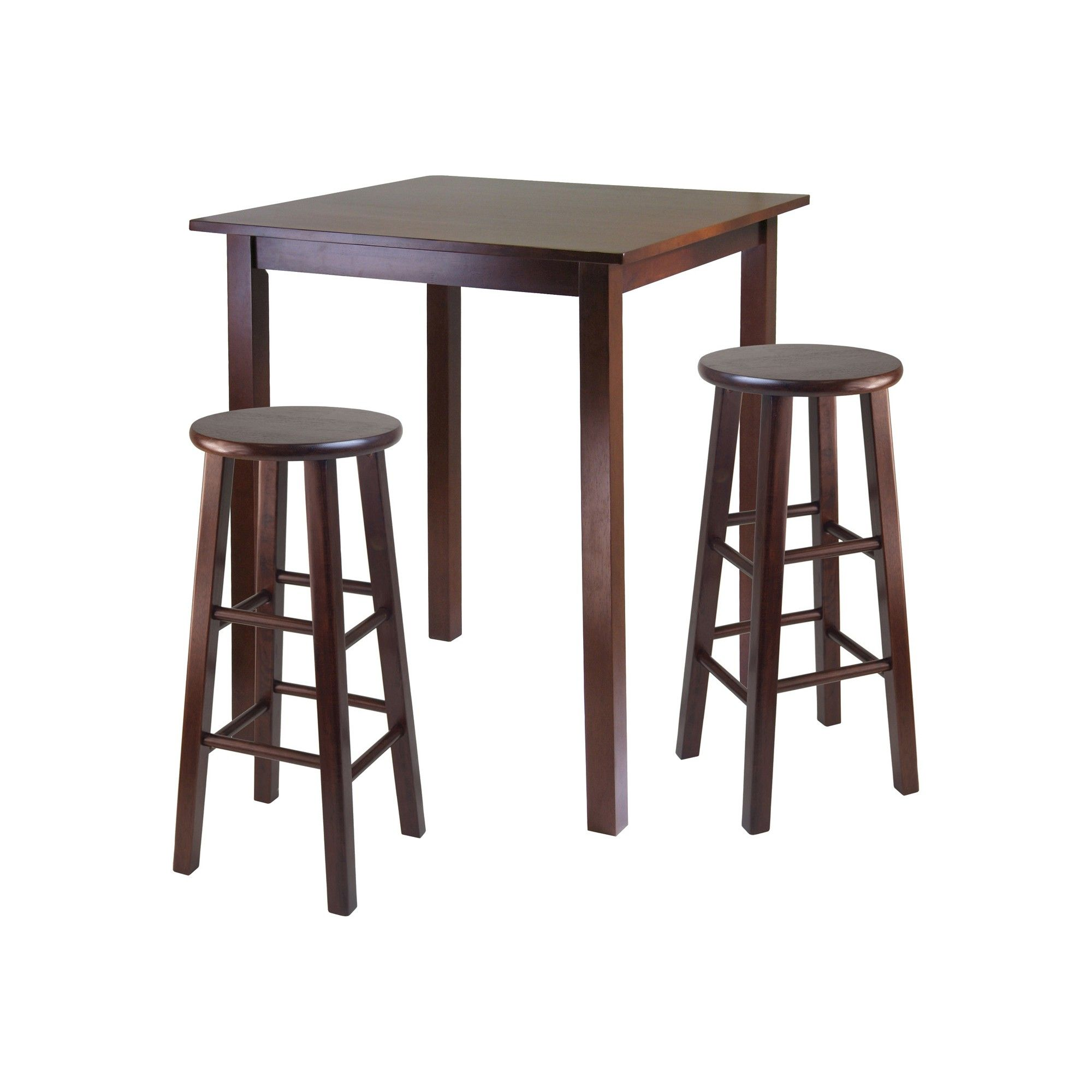 3 piece parkland set high table with bar stools wood walnut brown