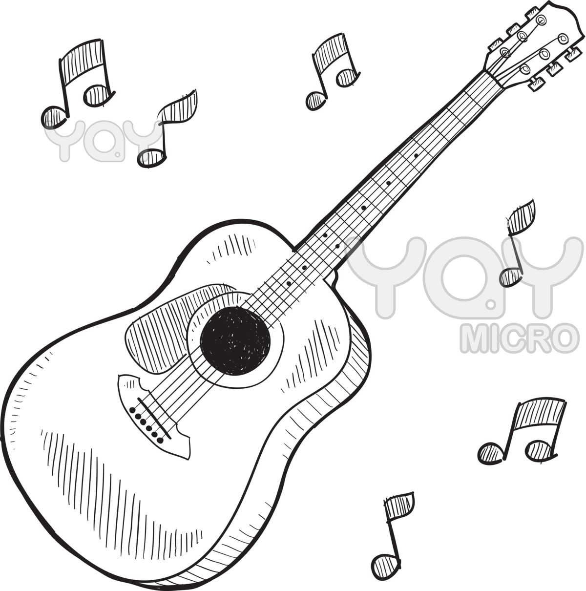 Guitar Melody Coloring Pages Printable Coloringwallpaper Com Guitar Sketch Guitar Drawing Music Drawings