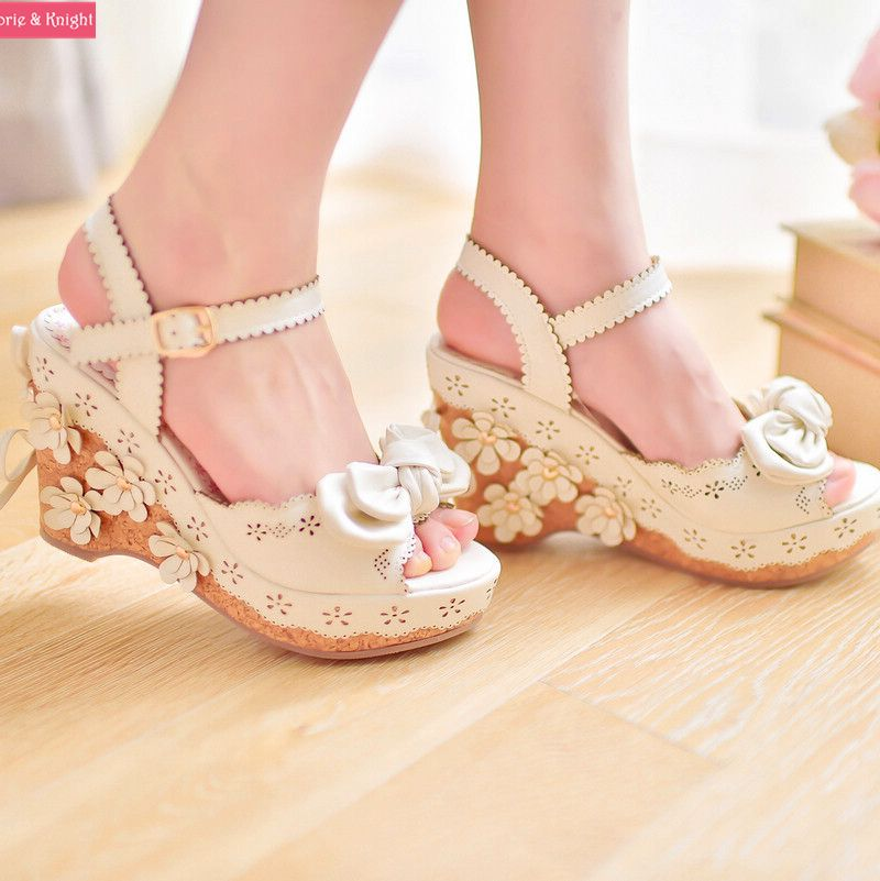 4082810687ae Sweet Pink White Bow   Flowers Platform Wedge Sandals Princess Lolita Girls  Summer Shoes