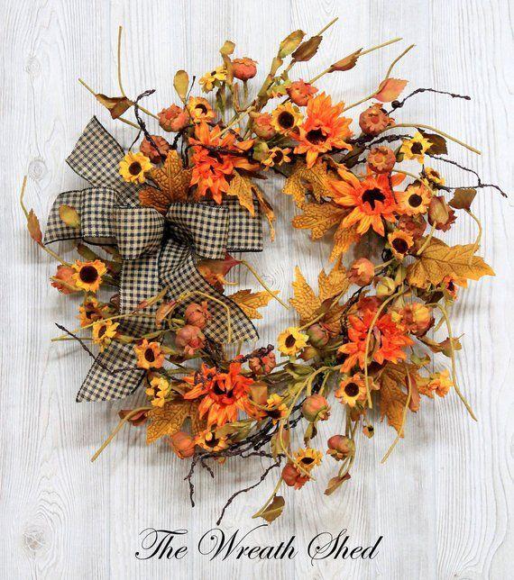 Photo of Autumn wreath, autumn wreath, sunflower wreath, wreaths, rustic peasant wreath, autumn wreath…