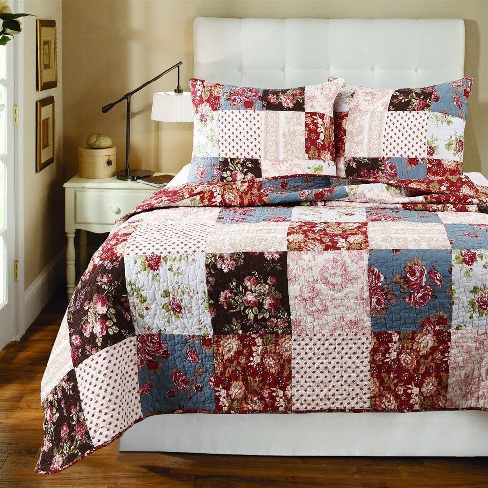 soft all cotton blue red white country patchwork rose floral quilt bedding set description set includes