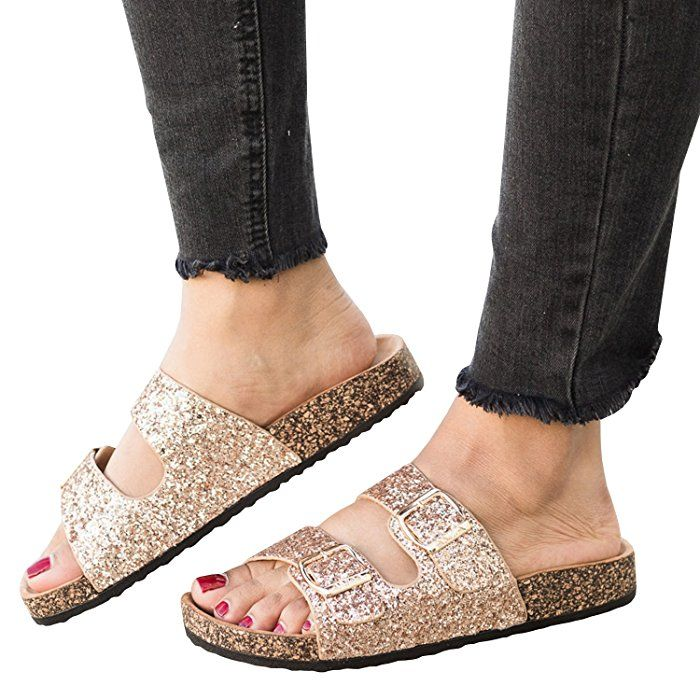 0f9d427fa829 Amazon.com: Womens Double Buckle Strap Footed Sandals Slip On Platform Cork  Sole Slide Adjustable Flats: Clothing