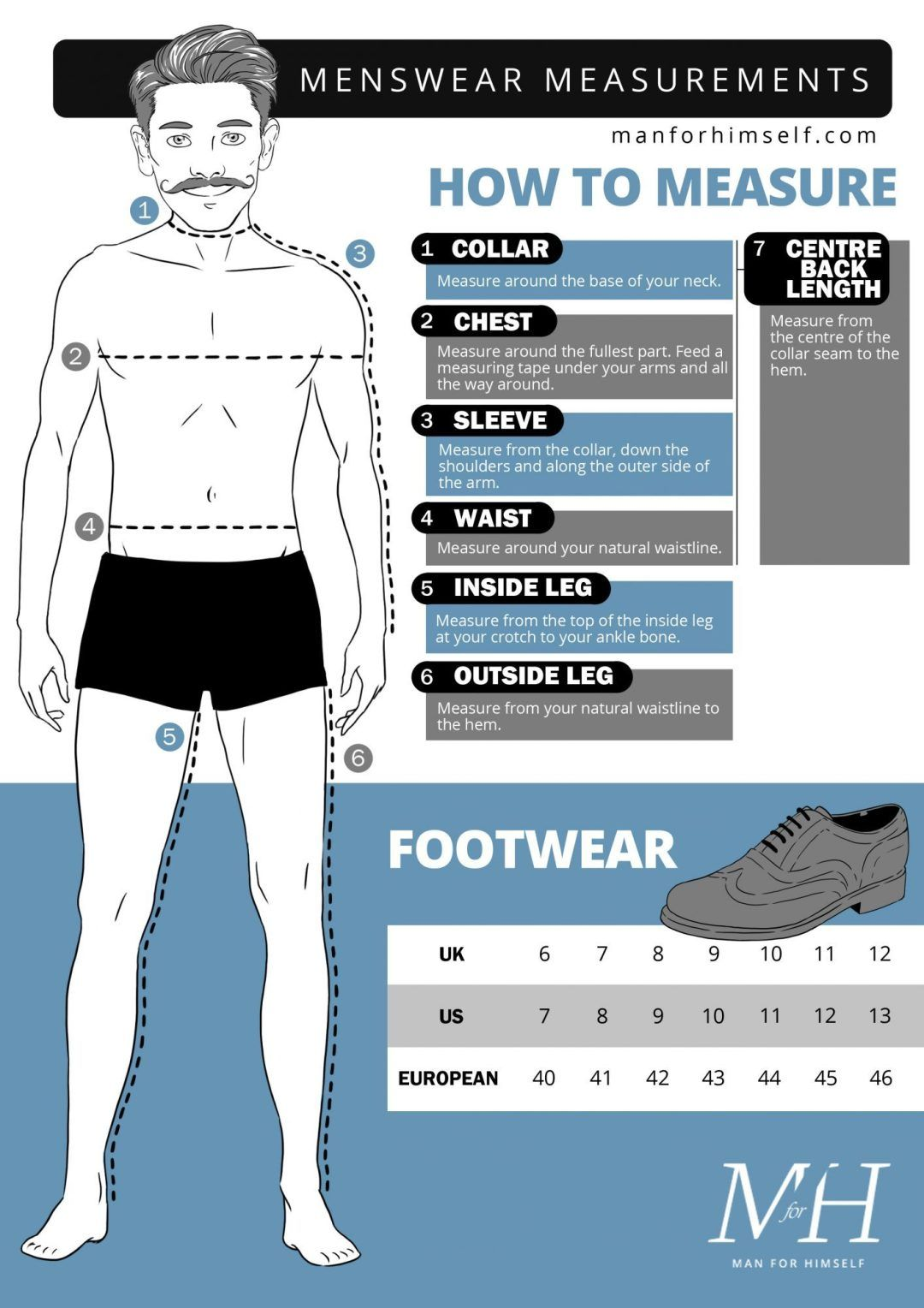 male measurements chart Google Search Mens outfits