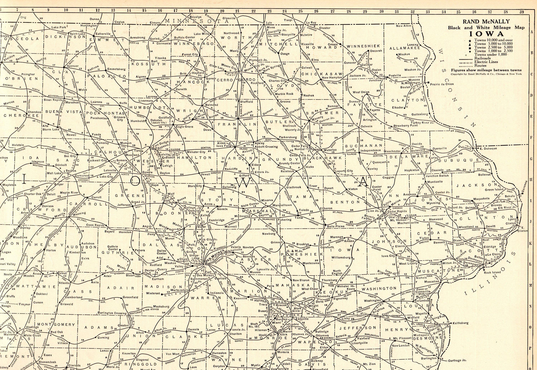 1920 Uncommon Iowa State Map Vintage Iowa Mileage Map Rare Size