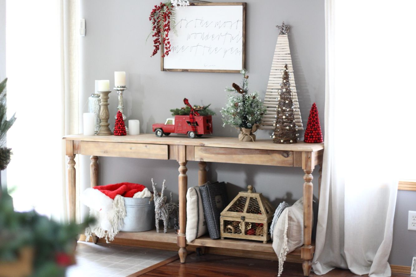Rustic Christmas console table {World Market} Home decor
