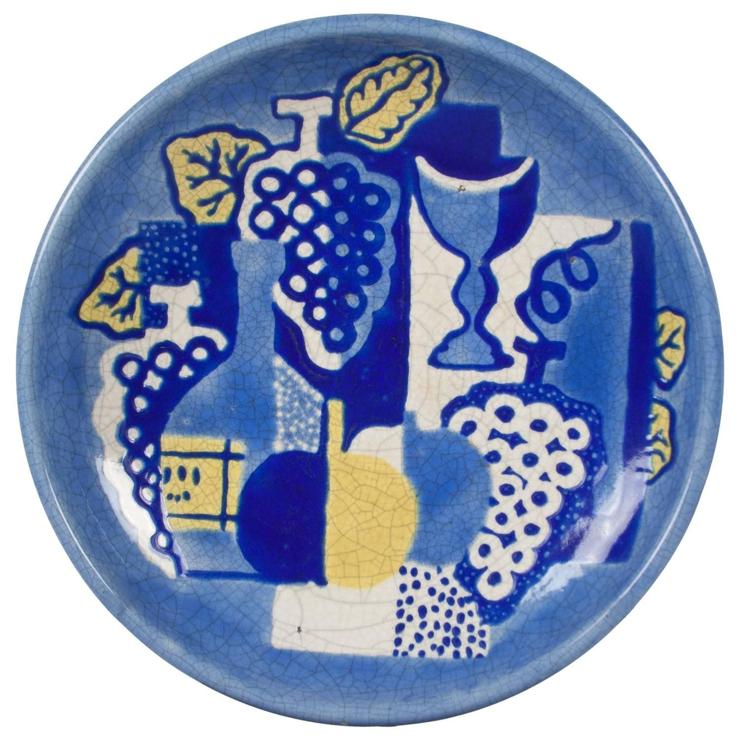 'Cubist' Still Life Ceramic Charger by Primavera, French, 1930s