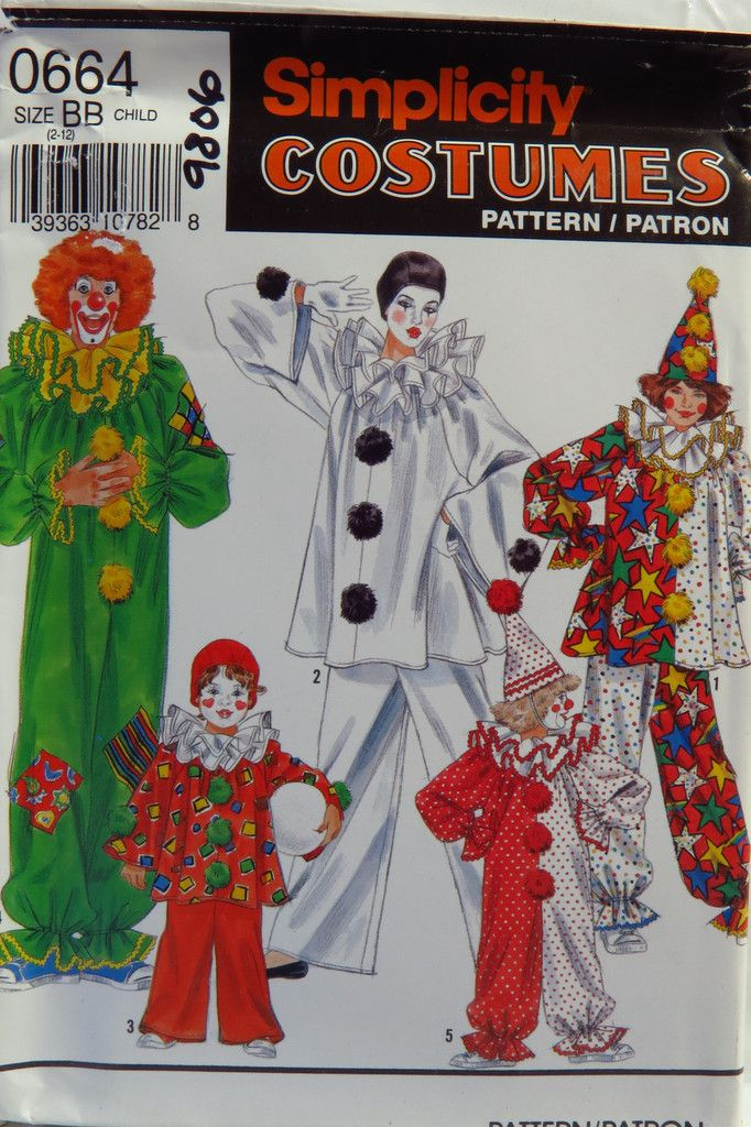 Simplicity 0664 Boysu0027 and Girlsu0027 Clown Costumes and Hat & Simplicity 0664 Boysu0027 and Girlsu0027 Clown Costumes and Hat | Pinterest ...