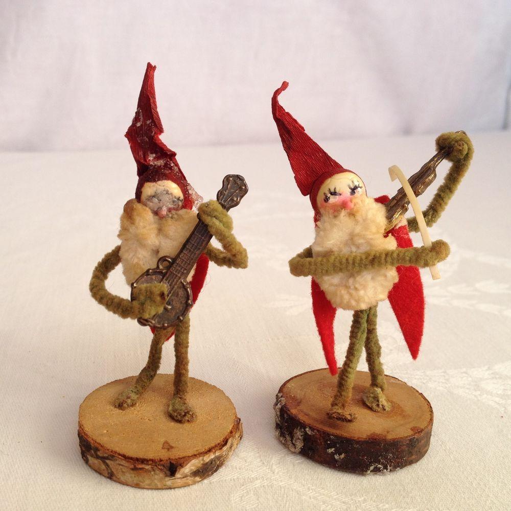 Miniature ornaments - Antique German Santa Elves W Metal Miniature Ornaments Feather Tree Christmas