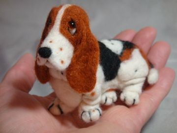 Needle Felted Basset Hound Dog by Laurie Valko