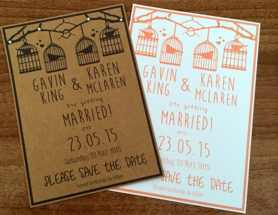 "6x4"" or 7x5"" Vintage Birdcage inspired Save the Date.  Design can be designed in any colour and printed on any coloured card. 60p with a magnet or 50p without."