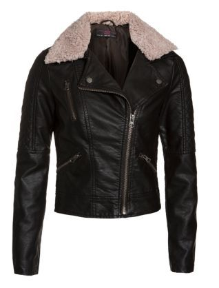 921d33f9e Chocolate (Brown) Black Leather-Look Shearling Biker Jacket ...