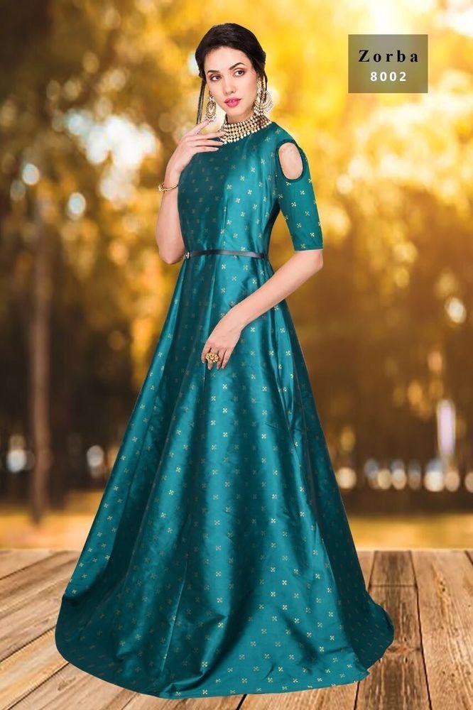 Details about Wedding wear Long Gown Dress Designer Indian