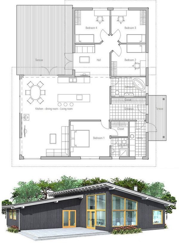 Modern house plan with high ceilings Three