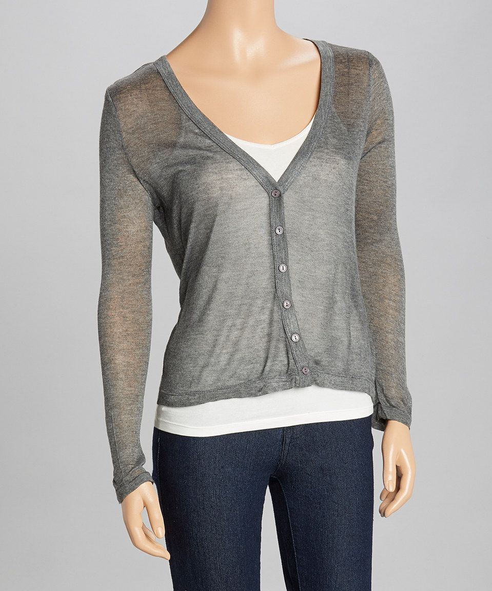 Look what I found on #zulily! Heather Charcoal Sheer Long-Sleeve ...