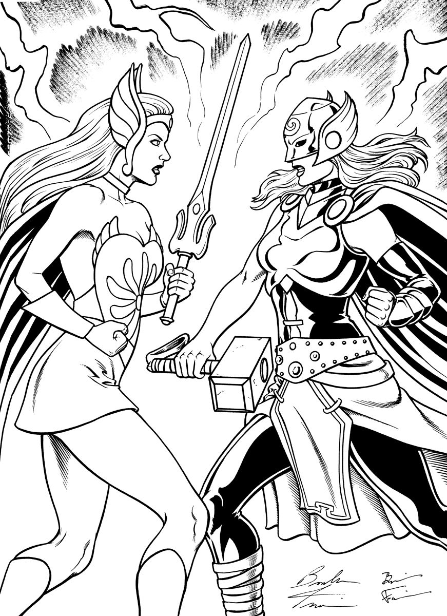 thor vs she ra comic art coloriage she ra u0026 maitres de l