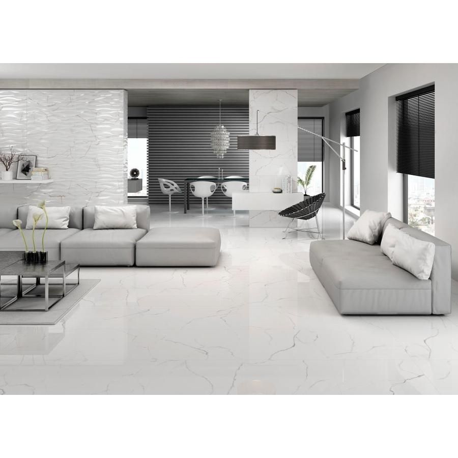 Emser Sculpture 5 Pack White 12 In X 24 In Glazed Porcelain Stone Look Wall Tile Lowes Com White Floors Living Room Tile Floor Living Room Living Room Tiles