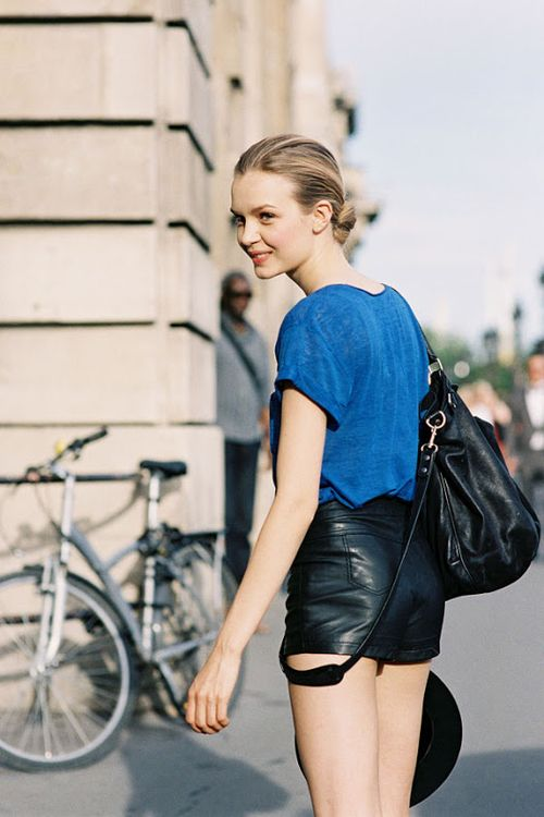 Josephine Skriver sweet leather shorts