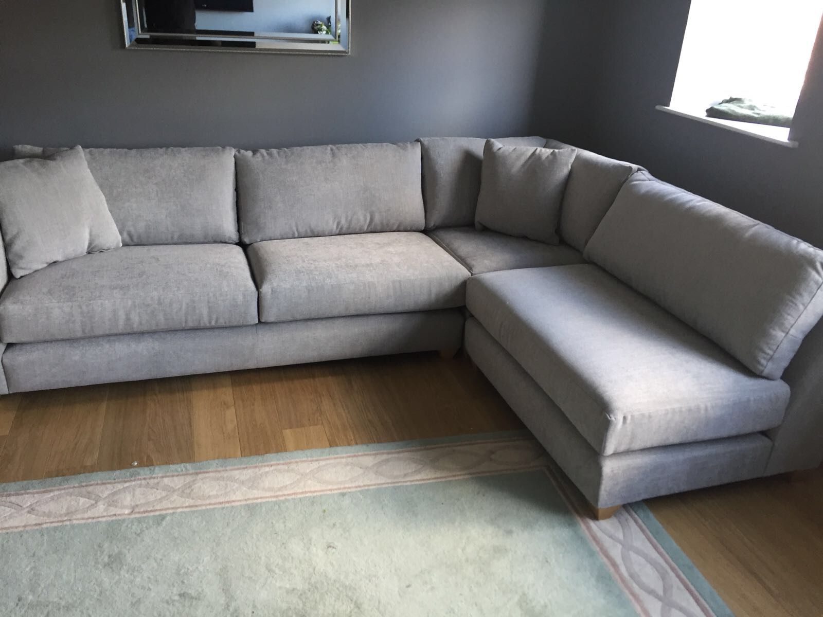 Mapperley Left Hand Facing 3 Piece Corner Sofa 285 Cm X 200 Cm No Arm On The Right Hand Section In J Brown Porto 23 Mist Corner Sofa No Arms Sofa Corner Sofa