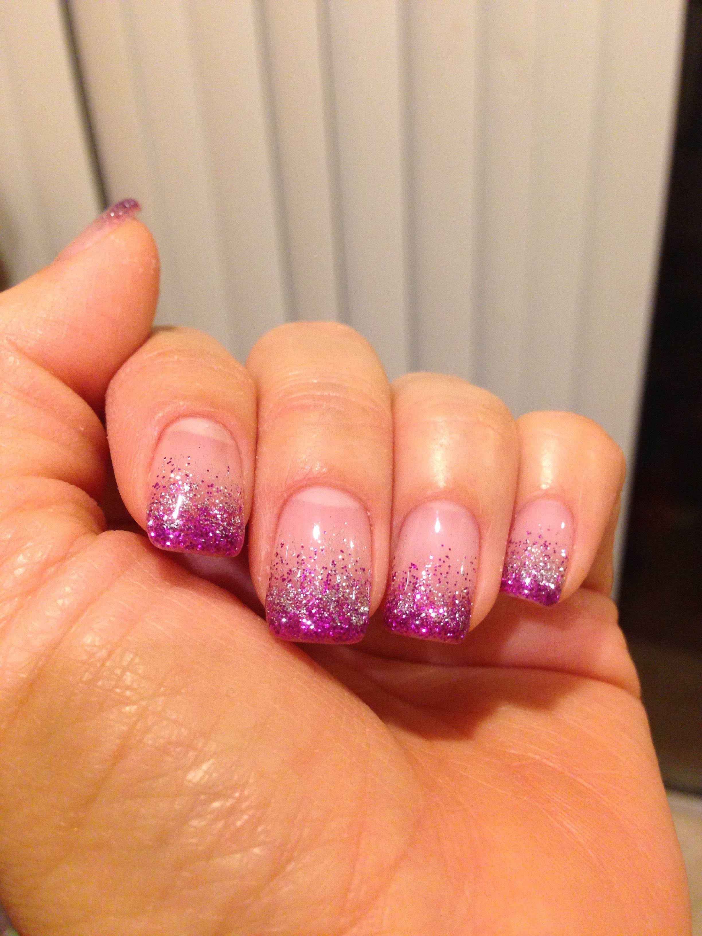 Purple glitter fade gel nails | gel nails | Pinterest | Purple ...