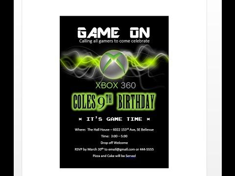 How To Make XBOX Birthday Invitation With MS Word Fiesta Xbox Custom Tags