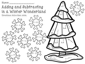 Adding and Subtracting in a Winter Wonderland  - 6 pages of practice. Great for morning work, math centers in December and January, or for early finishers!