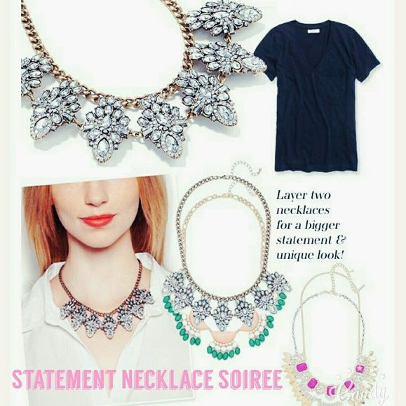 Statement Necklace Soiree Statement necklaces are here and they are staying. The greatest thing about this piece is the way you can take any look and make it so much better with just the touch of a statement piece. Letting the shopping begin! Jewelry Necklaces