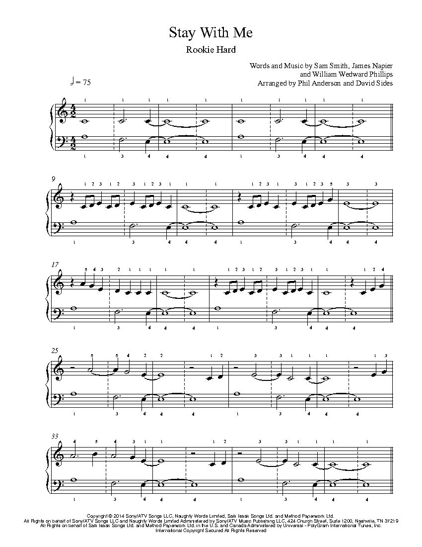 Stay With Me By Sam Smith Piano Sheet Music Rookie Level Music
