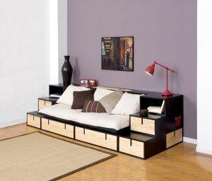 Espace loggia lit mezzanine banquette brick bambou sofa canape meuble contemp - Lit mezzanine design ...