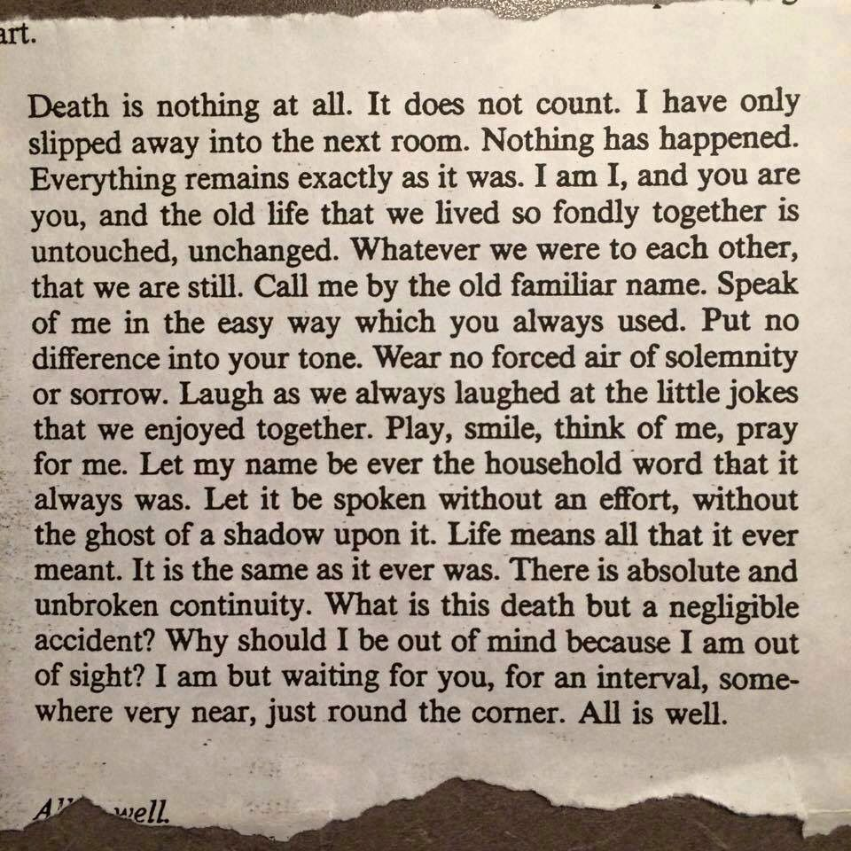 Beautiful Reflection About Something Seemingly Morbid Words Losing A Loved One All Or Nothing
