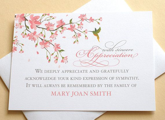 Thank You Sympathy Cards With Peach Blossoms And A Hummingbird